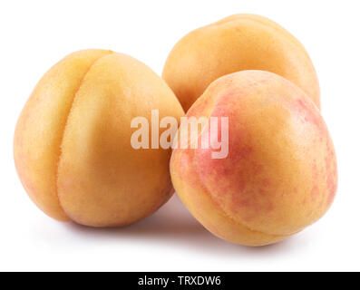 Ripe apricots isolated on the white background. - Stock Image