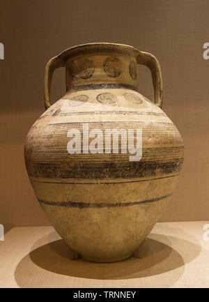 Pottery Jar. Iron Age II. Tell Rachdieh, Lebanon. Directorate General of Antiquities-Lebanon. - Stock Image