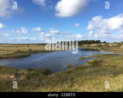 Broad Water located between Titchwell and Thornham is part of the wetlands area of RSPB Titchwell. - Stock Image