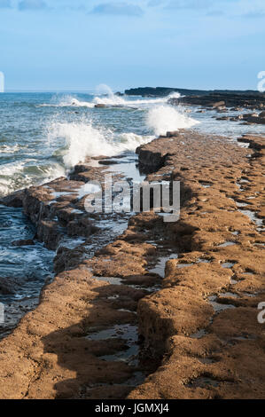 North Sea waves breaking against the rocks of Filey Brigg, Filey, North Yorkshire. November. - Stock Image