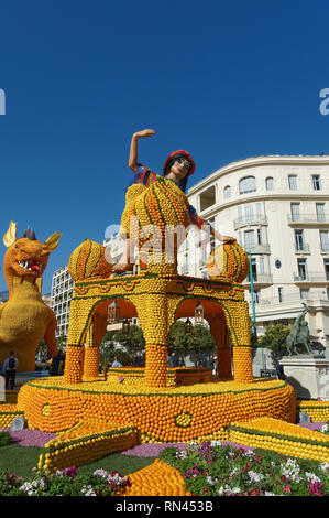 February 16th 2019 Menton, France,  the 86th LEMON FESTIVAL (Des Mondes Fantastiques) during the Carnival of NICE - Stock Image