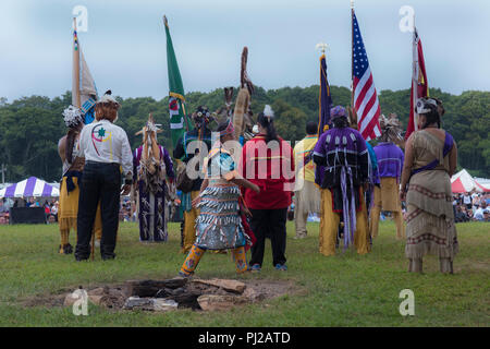 Southhampton, United States of America. 03rd, Sep 2018. Native American start the celebration of the 72nd annual Shinnecock Indian Powwow over the Labour Day weekend in Southampton Long Island New York, in Southhampton, United States of America, 03 September 2018. (PHOTO) Alejandro Sala/Alamy News - Stock Image