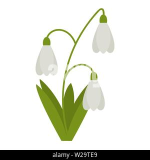 Snowdrops flower flat icon, wild flowers, plant vector illustration isolated on white background - Stock Image