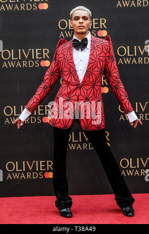 London, UK. 7th Apr 2019. Layton Williams poses on the red carpet at the Olivier Awards on Sunday 7 April 2019 at Royal Albert Hall, London. Picture by Credit: Julie Edwards/Alamy Live News - Stock Image