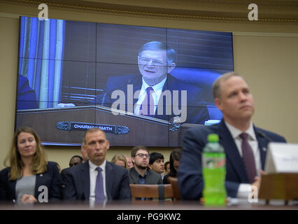Rep. Lamar Smith, R-Texas, Chairman of the House Committee on Science, Space, and Technology questions NASA Administrator Jim Bridenstine during a House Committee on Science, Space, and Technology hearing on the James Webb Space Telescope, Wednesday, July 25, 2018 at the Rayburn House Office Building in Washington. - Stock Image
