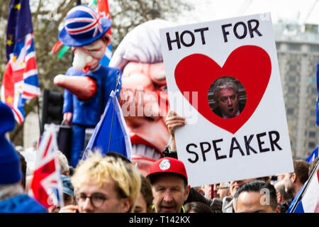 London, UK. 23rd Mar, 2019. Love for John Bercow, the Speaker of the House of Commons. Remain supporters and protesters take part in a march to stop Brexit in Central London calling for a People's Vote. Credit: Vibrant Pictures/Alamy Live News - Stock Image