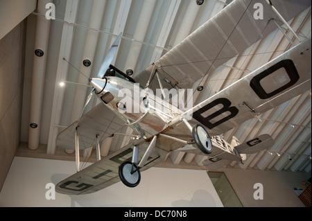 Bert Hinkler's Avro Avian biplane displayed at the Queensland Museum in Brisbane, Australia - Stock Image