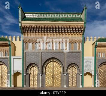 Entrance gate to Dar el-Makhzen Royal Palace, Fes, Morocco - Stock Image