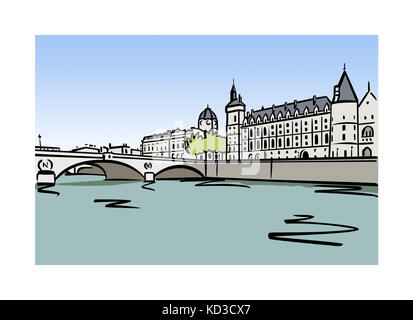 Illustration of the Palais de la Cite in Paris, France - Stock Image