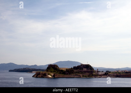 Kerkyra Town with Old Fortress - Stock Image