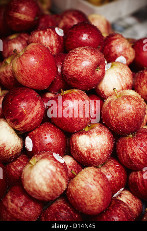 Red apples for sale at market - Stock Image