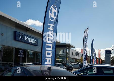 The Hyundai car dealership in Crewe UK - Stock Image