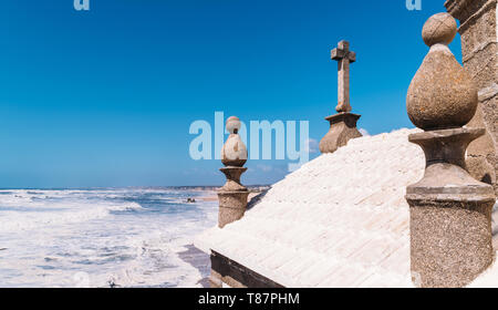 Senhor Da Pedra church in Miramar, Portugal perspective offering picturesque views next to the ocean. - Stock Image