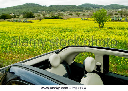 Fiat 500 cabrio in Ibiza, Spain. - Stock Image
