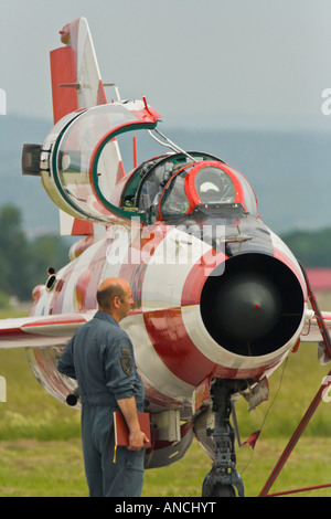 Croatian Air Force MiG-21 UMD parked, Pleso AFB base - Stock Image