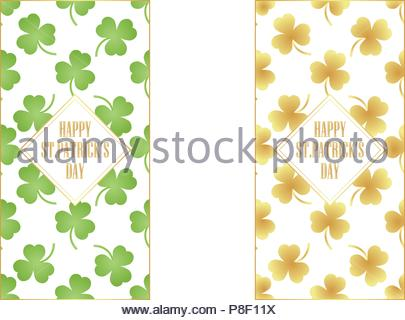 Templates or banners with a green and gold clover for St. Patrick's Day. Vector illustration - Stock Image