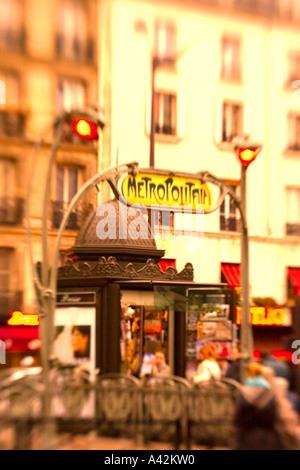 Paris France Metro station Montmatre Place de Clichy blurred - Stock Image