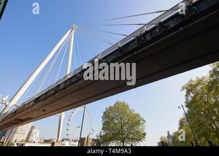 Golden Jubilee Bridge, Embankment, London, England - Stock Image