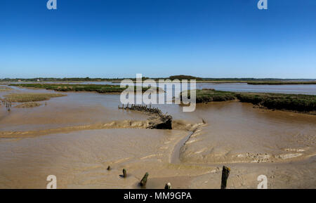 Across Iken marshes and river Alde, Suffolk, England - Stock Image