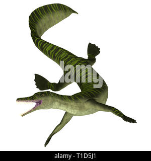 Mesosaurus Marine Reptile -  Mesosaurus was a carnivorous marine reptile that lived in the seas of Africa and South America during the Permian Period. - Stock Image