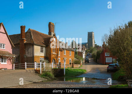 Kersey Suffolk, view of The Street in the centre of Kersey village, with its famous ford or 'splash' in the foreground, Suffolk, England, UK. - Stock Image