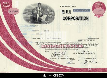 Historic share certificate, MEI Corporation, Hawaiian building company, Delaware, 1982, USA, Historische Aktie, - Stock Image