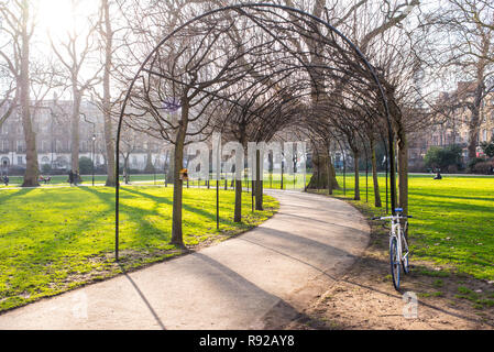 Russell Square, London, UK - February 2017. Russell Square, a large garden square in Bloomsbury, in the London Borough of Camden - Stock Image