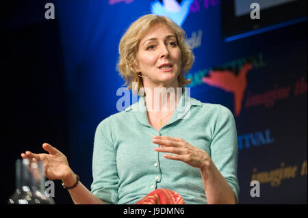 Marie-Elsa Bragg speaking on stage about her book Towards Mellbreak at Hay Festival 2017 Hay-on-Wye Powys Wales - Stock Image