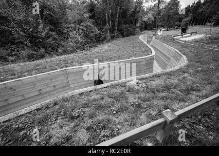 Verdun, France - September 2018: Restored World War One trench line in Verdun, France - Stock Image