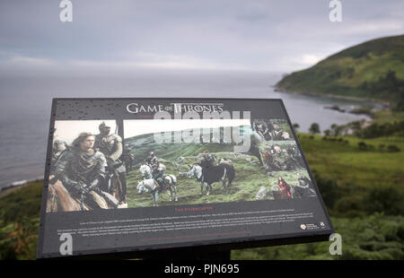 Visitor information board at Murlough Bay on the CausewayCoast in County Antrim, Northern Ireland, used as a location in TV series Game of Thrones - Stock Image