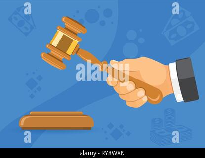 Hammer Judge or Auction in Hand - Stock Image