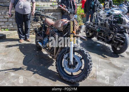 A working prop model based on a motorcycle from The Walking dead TV franchise.  Built and displayed by podpadstudios - Stock Image