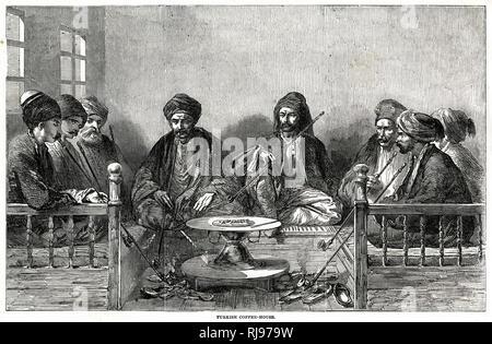 Turkish men seated on cushioned benches, along three sides, smoking the tchibouk or narghile. - Stock Image