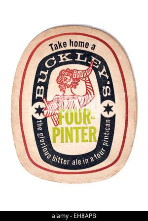 Vintage Beermat Advertising Buckleys Beer - Stock Image