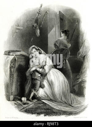 A white family is attacked by native Americans; a woman prepares to defend the house with a rifle - Stock Image