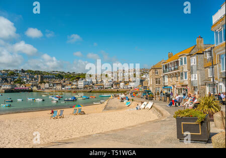 Smeatons Pier Strand von St Ives, Cornwall, England, UK | St Ives Smeatons Pier Beach, Cornwall, England, UK - Stock Image