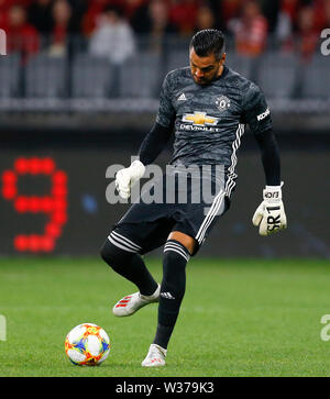Optus Stadium, Perth, Western Australia. 13th July, 2019Optus Stadium, Perth, Western Australia. 13th July, 2019. Pre-season friendly football, Perth Glory versus Manchester United; Sergio Romero of Manchester United plays the ball out of the box Credit: Action Plus Sports/Alamy Live News Credit: Action Plus Sports Images/Alamy Live News - Stock Image