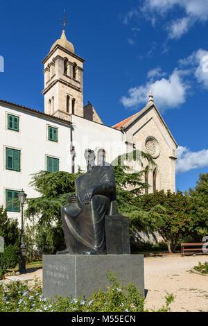 Monument Petar Krešimir & Monastery Church of St. Frane, Sibenik, Croatia - Stock Image