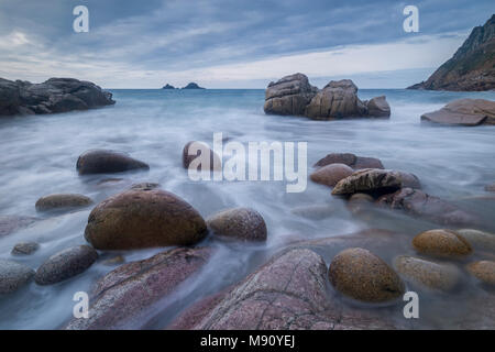 Porth Nanven cove at the end of the Cot Valley, St Just, Cornwall, England. Autumn (November) 2017. - Stock Image