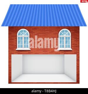 House with Garage floor section and windows. - Stock Image