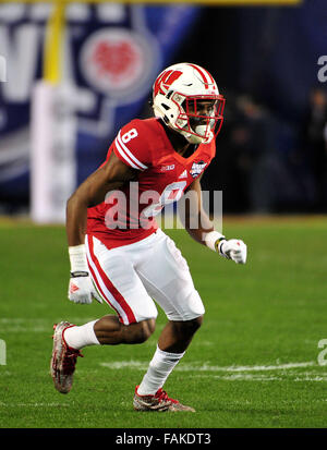 December 19, 2015. Sojourn Shelton #8 of Wisconsin in action during the 2015 National Education Holiday Bowl between - Stock Image