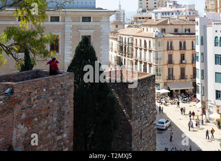 The Medieval Alcazaba de Malaga dating from 11th century, and Malaga old town, Malaga, Andalusia, Spain Europe - Stock Image