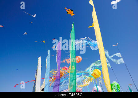 Beautiful kites in a kite festival .blue sky - Stock Image
