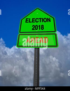 election ahead roadsign - Stock Image