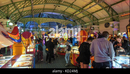 View of the interior of a Victorian old fashioned game arcade in Brighton, England - Stock Image