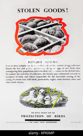 1960s RSPB Charles Tunnicliffe information poster advertising financial award scheme for landowners who create wildlife - Stock Image