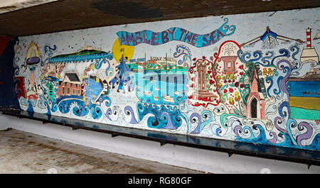 Mural in bus shelter Church Street Amble  Amble is a small town on the north east coast of Northumbria The only public transport is the bus Cw 6567 - Stock Image