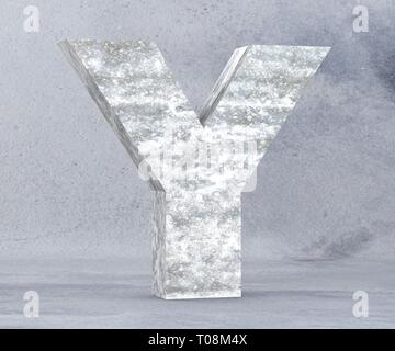 Concrete Capital Letter - Y isolated on white background. 3D render Illustration - Stock Image