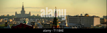 MOSCOW, AUGUST 8, 2018: Panoramic view of Moscow city, Moscow State University building on Sparrow Hills, Corner Arsenal tower o the Kremlin, building - Stock Image