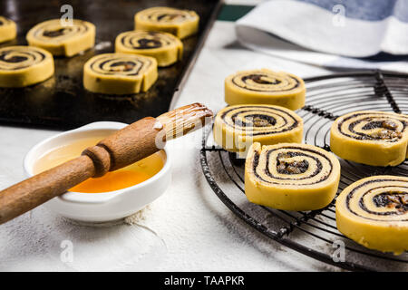 Cinnamon rolls swirl made of french pastry. - Stock Image